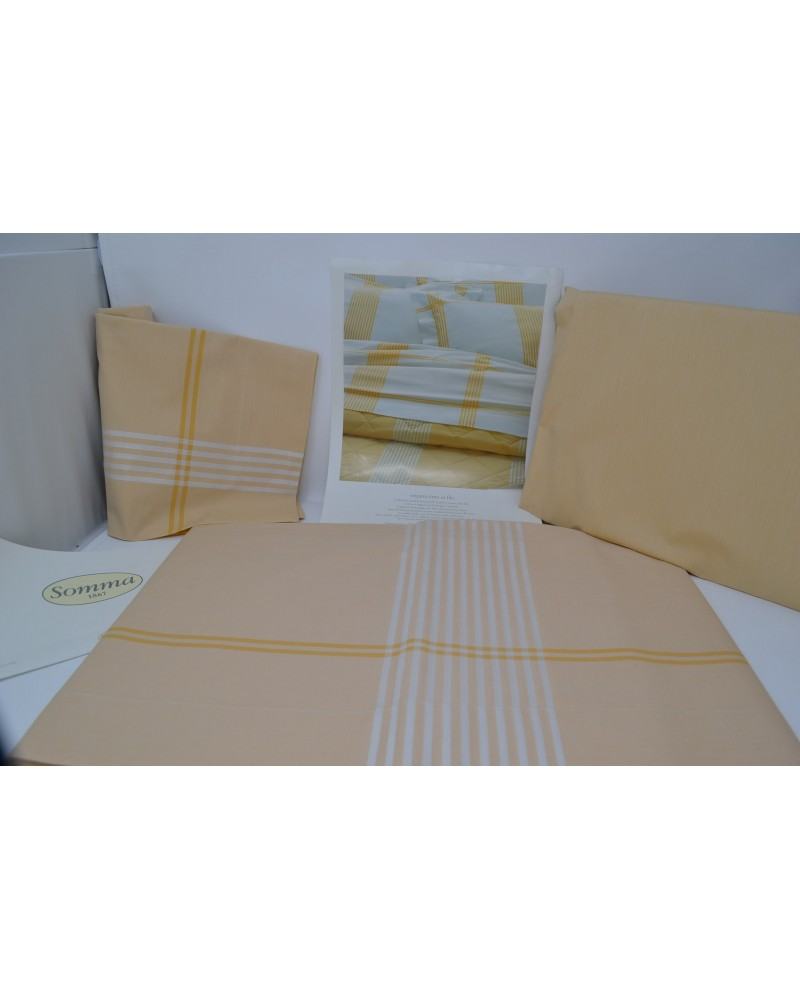 SOMMA *ORIGAMI* completo letto tinto in filo polenta 1 piazza